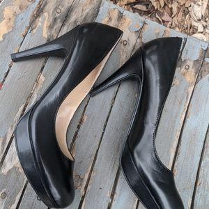 Women's Marc Fisher Black Leather Platform Heels 7